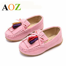 Children Shoes Boys Girls Canvas Spring Autumn Soft Flock PU Leather Casual Shoes Cute Tassel Girls Moccasins Shoes Size 26-35(China)