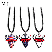 Luxury Brand Good Wood Hip Hop Men's Long Beads Jewelry Necklace Fashion Bull Pendant Necklaces Men Costume Jewelry Wholesale(China)