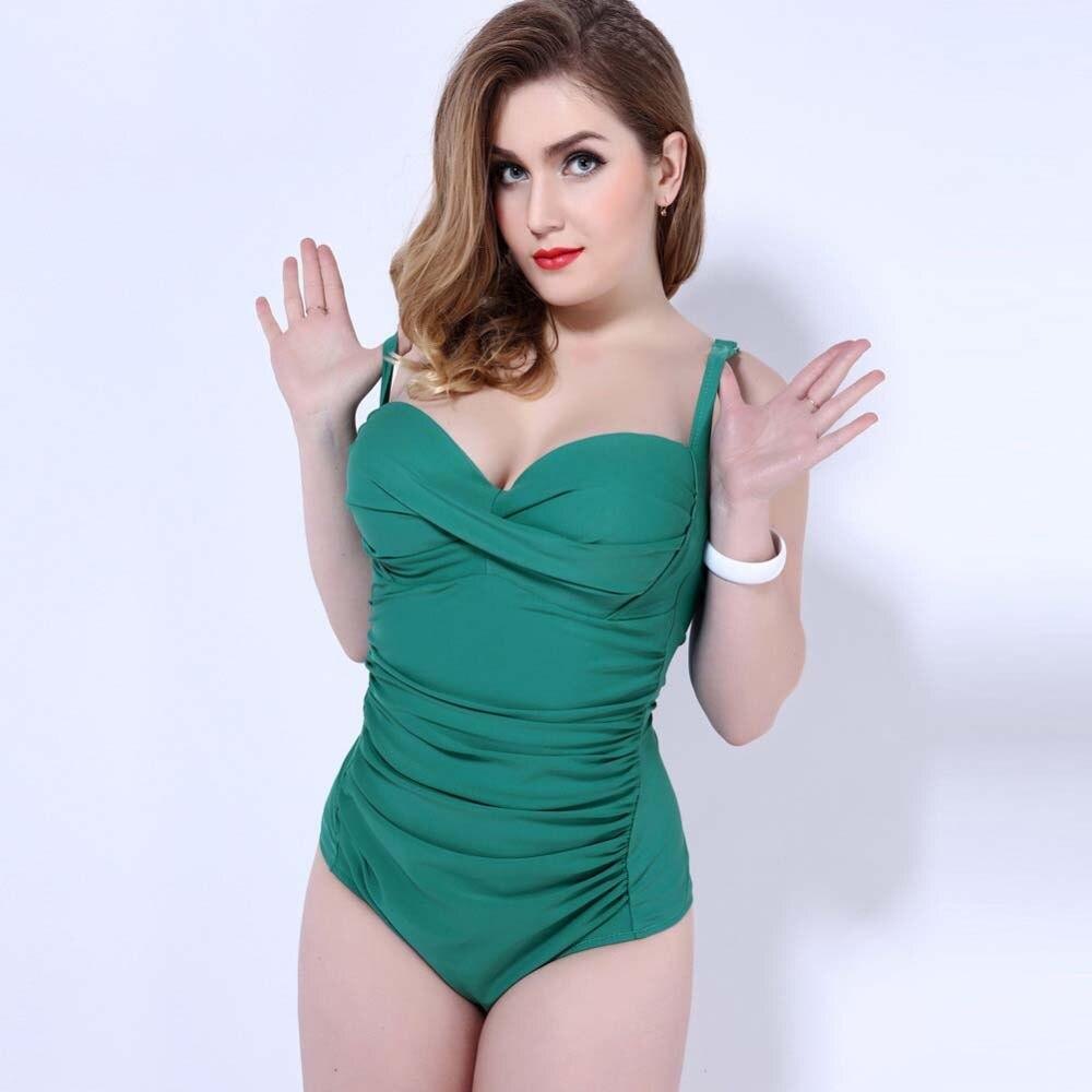 One Piece Swimsuit Plus Size Bodysuit Women Solid Color Bathing Suit Sexy Beachwear Push Up Bikinis Large Size Bathsuit<br>