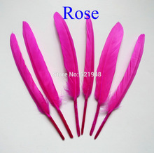 2015! 100pcs/lot Rose Color Dyed Goose Feathers 4-6''/10-15cm DIY Craft Feathers Wedding Decoration(China)
