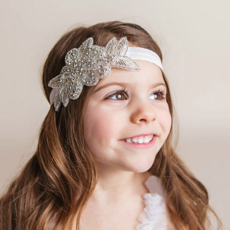 2016 Girls Pearl Flower Leaves Hairband Rhinestone Headband Wedding Photo Props Baby Girl Hair Band Accessories<br><br>Aliexpress
