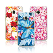 Floral Hard Plastic Painted Flower Phone Case For HTC One m7 802t/802w/802d Dual Sim Case Cover For HTC 802W+Free Stylus Pen