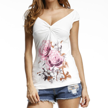 2017 Plus Size Summer Sexy T-shirts Rose Printed Women Tee V-neck Tops Slim Fit Blusa Casual Fashion Floral Printed Shirts GV688(China)