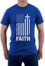 Christian Distressed White USA Flag Cross Have Faith T-Shirt Round neck Gift Idea(China)