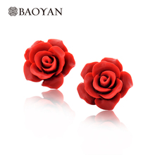 Wholesale Cute Fashion Ladies Small Vintage Antique Costume Red Rose Flower Stud Jewellery Earrings Jewelry for Women Girls Sale(China)