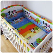 Promotion! 6PCS Cartoon Kids Child Baby Bed ,Good Quality Cheap Price Baby Crib Accessories (bumper+sheet+pillow cover)