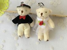 Kawaii Little 8CM Wedding Bear Plush Stuffed TOY;  Plush Gift Bride & Groom Bear , String Pendant Bouquet DOLL TOY