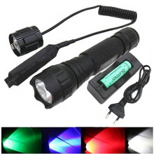 2300LM XM-T6 Q5 White/Green/Red/Blue Light led flashlight Remote switch Hunting  Fishing lamp Bike Torch +18650 battery+charger