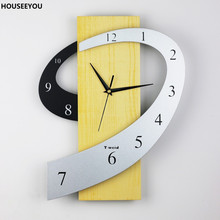 Home Decoration Creative Brief Large Wall Clock Modern 3D Wall Clocks Watch MDF + Iron for Dining Living Room Kitchen Bedroom