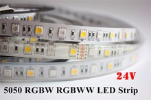 DC24V RGBW led strip light 5050 SMD 12mm PCB 5M 60leds/m led flexible tape rope stripe light RGBWW RGB warm white Newest(China)