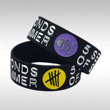 50PCS/Lot 5 SECONDS OF SUMMER 5 SOS 1 Wide Silicone Wristband Bracelet