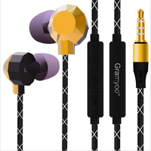 Double bass Ear earphone Braided wire with microphone phone Motion picture headset  X20