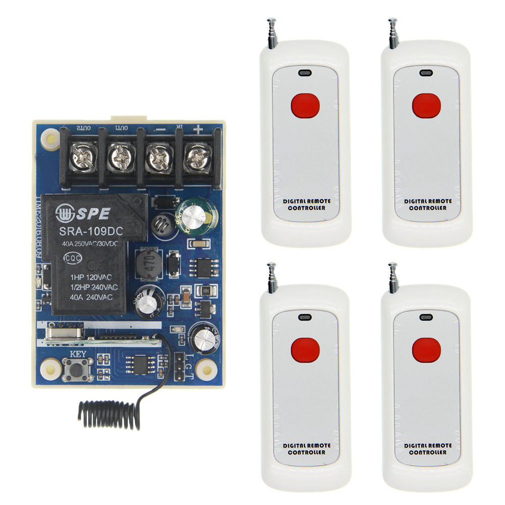 Long Distance DC 12V 24V 36V 48V 30A 1 CH 1CH RF Wireless Remote Control Switch LED Light Garage System Receiver+Transmitter<br>