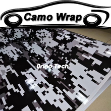 Pixels Digital Camouflage Vinyl Wrap Black White Camouflage Sticker Film Car Motorcycle Truck Wrapping Matte/Glossy Finished