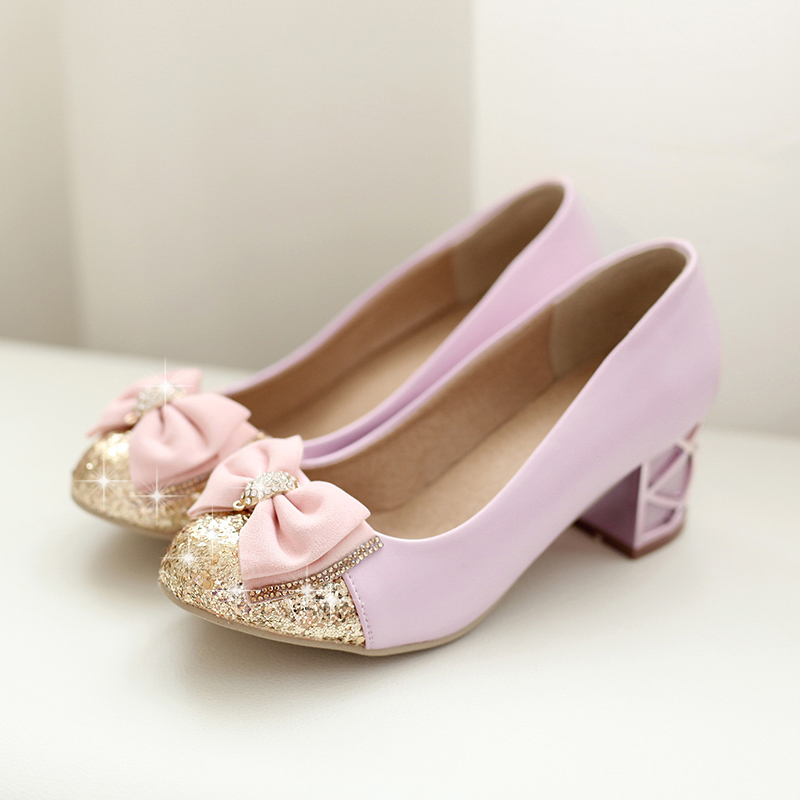 Plus size women purple high heel shoes round toe glitter pink shoes with bow thick heel office shoes women wedding shoes <br><br>Aliexpress