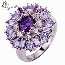 lingmei Wholesale Charming Flower Purple Tourmaline White CZ Silver Color Ring Size 7 8 9 10 11 12 Alluring Women Jewelry(China)