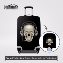 Dispalang Elastic Luggage Protective Dust Rain Cover Musical Skull Head Prints Suitcase Cover For 18-30 Inch Travel Trolley Case