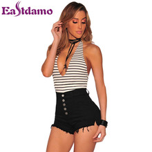 Eastdamo 2017 New High Waist Ripped Jeans Shorts Women Summer Sexy Skinny Short Jeans White Black Women's Shorts mujer