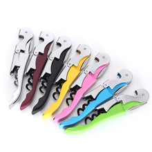 New Arrival High Quality Soft Velvet Touch Waiters Double Hinge Corkscrew Wine Key Bottle Opener With Plastic Handle