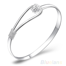 New Fashion jewelry Silver Simple Circle Flower Rose Cuff Bangle Bracelet   00QS