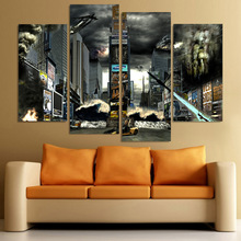 Canvas Painting 4 Piece Canvas Art Times Square Disaster HD Printed Home Decor Wall Art Poster Picture for Living Room XA037B(China)