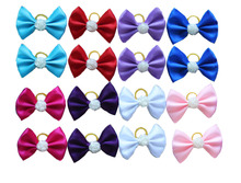 2016 New 100pcs/lot  Mix Dog Large Bow rubber band Pet Hair Bows Rose Pearl  Dog Hair Accessories Pet Grooming ProductsCute Gift