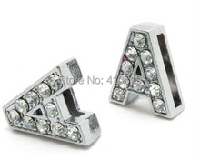 "Wholesale 50PCS 8mm "" A "" full rhinestones slide charm letter diy alphabet fit for 8mm phone strips"