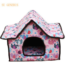 Dog beds sofas Cute little dog kennel house cat stereo house not easy to collapse pet products(China)