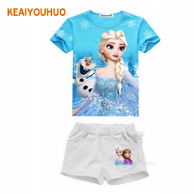 Girls Clothing Set Elsa Anna Print Girls Clothes Set Summer Short Toddler Girl tops + Pants Girls 2 pcs Suit Kids Clothes