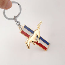 BBQ@FUKA Metal New Golden Finish Pony Racing Horse Key Chain Fob Ring Keychain Fit For Ford GT 500 Cobra Mustang