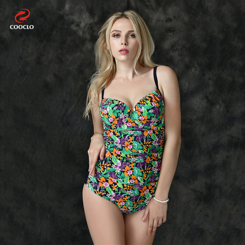 2XL-6XL Plus Size Lady One-piece Bikini 2016 High Waist Swimsuit Halter Top With Printed Elastic Push Up Women Body Suit<br>