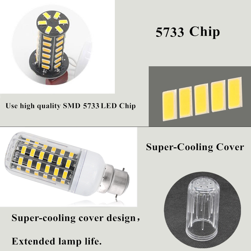 25W E27//E14 High-effect Lamp 5733 LED Corn Bulbs Cool//Warm White Lights+Louver