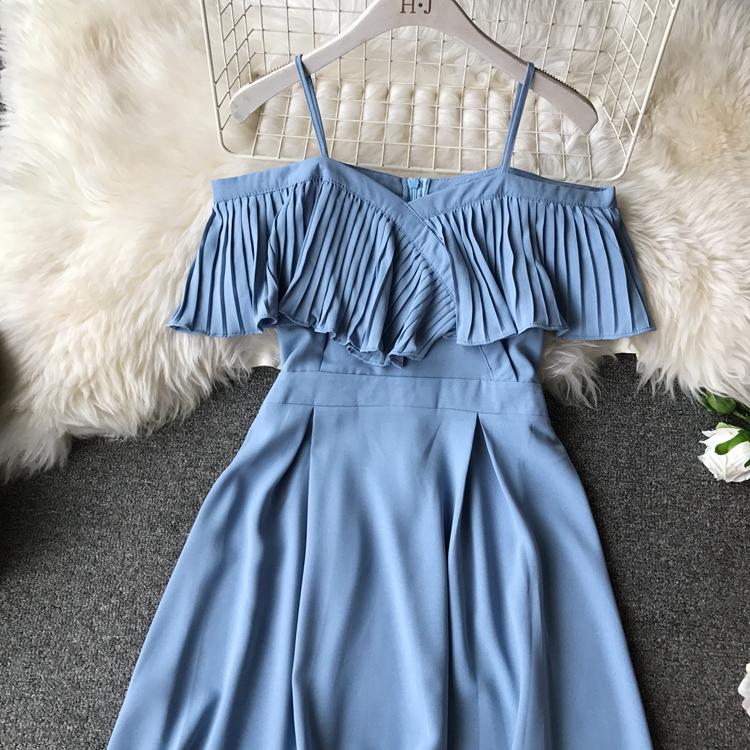 2019 Spring Women Chiffon Pleated Braces Sling Spaghetti Strap Goffer Long Dress Ladies Ruffles Empire Drapped Swing Slip Dress 183