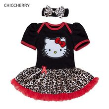 Summer Hello Kitty Baby Girl Clothes 2pcs Toddler Lace Romper Dress Headband Set Vestido Bebe Infant Birthday Party Tutu Outfits(China)