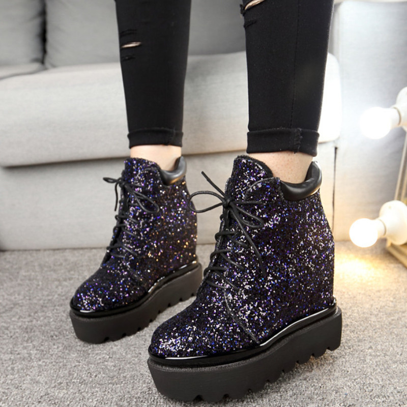 2017 New Autumn Glitter Ankle Boots Ladies Shoes High Heels Fashion Increasing Height Martin Boots Woman Pumps Platform Shoes<br><br>Aliexpress