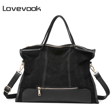 LOVEVOOK brand fashion female shoulder bag high quality patchwork split leather retro handbag ladies tote bag for office work(China)