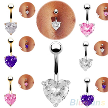 Bluelans Silver Navel Belly Button Ring Rhinestone Bar Heart Star Belly Piercing Body Jewelry