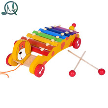 MQ kids toy 8 Scales Dog Trailer Xylophone Hand Knock Piano Wooden Educational Toy for Baby Kids Chilrden