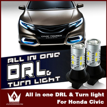 Tcart Auto LED Bulbs Switchback Amber Lamps White Front Turn Signals Daytime Running Lights DRL BAU15S For Honda Civic 2006-2011(China)
