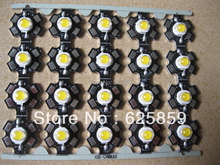 50PCS 3W White High Power LED Light Emitter 6000-6500K with 20mm Star Heatsink(China)