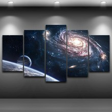 5 Pieces HD Print Painting Outer Space Planet Modular Picture Modern Decorative Bedroom Living Room Home Wall Art Decor /PT1237(China)