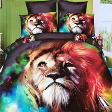 Home Bedding 4 sets Summer Animal Lion Leopard Blue Simple Quilt Cover Personality Bed linen Bed sheets bed linings B4204(China)