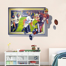 Hot Sale rugby Wall Stickers 3D Creative Home Decor american football Wall Murals Living Room PVC Stickers P5