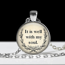 "2017 Inspirational Necklace Glass Pendant Necklace Religious Jewelry""It Is Well With My Soul "" Soul Jewelry YLQ430"