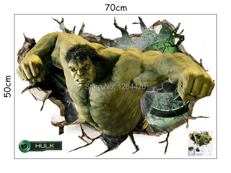 HTB1bC7fyYGYBuNjy0Foq6AiBFXao - Hulk 3d broken wall vinyl stickers the Avengers super heroes anime poster for kids rooms