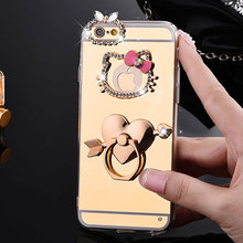 Mirror Electroplating Soft TPU hello kitty Bling diamond Metal Ring Stand Cases For iphone 7 7plus 6 6S Plus se 5s 5 phone case(China)