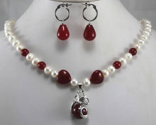 free shipping Fashion 8mm White&Red Pearl/ Necklace Earring Dragon Inlay Jewelry Set 5.23