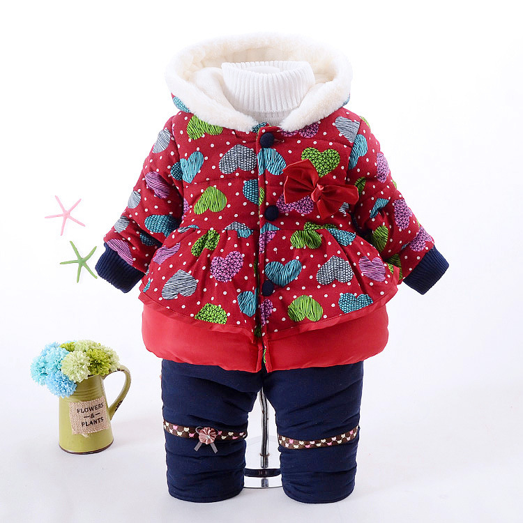 Winter Velvet Warm Kids Clothes Baby Girls Clothing Set Children Clothes Sets Toddler Girl Clothes Fashion Korean 2016 New 2pcs<br>