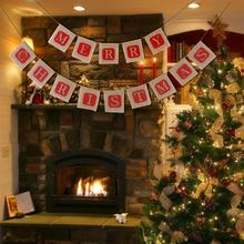Handmade Paper Flags Merry Christmas Garland Bunting Banner Set Christmas Party Decoration Party Photo Prop Booth