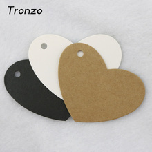 Tronzo 6.5*5cm 50pcs Heart Shape Kraft Paper Tag Gift Box Tags Wedding Party Favor Box Hang Labels DIY Crafts Gift Wrapping